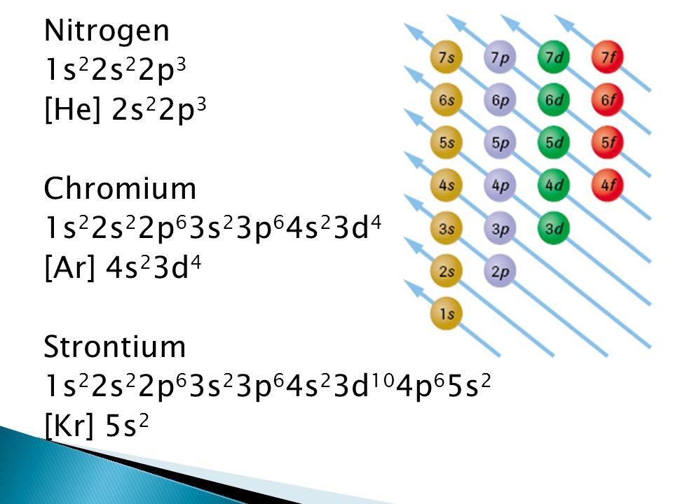 Nitrogen 1s22s22p3. [He] 2s22p3. Chromium. 1s22s22p63s23p64s23d4. [Ar] 4s23d4. Strontium. 1s22s22p63s23p64s23d104p65s2.
